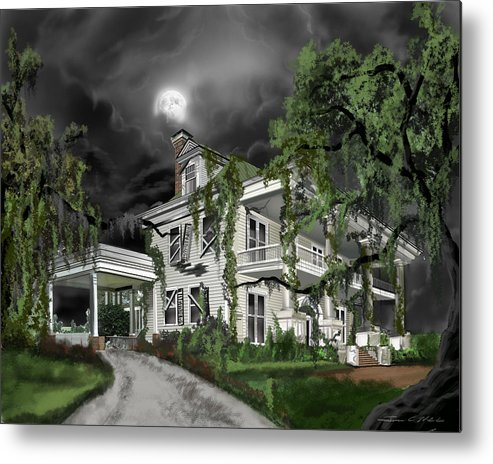 Metal Print featuring the painting Dark Plantation House by James Christopher Hill