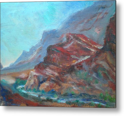 Virgin River Gorge Metal Print featuring the painting Dawn In The Gorge by Bryan Alexander