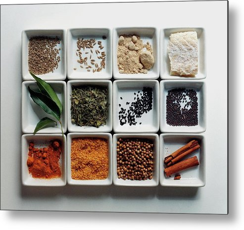 Cooking Metal Print featuring the photograph Dishes Of Spices by Romulo Yanes