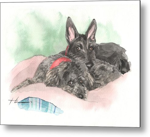<a Href=http://miketheuer.com Target =_blank>www.miketheuer.com</a> Dog Friends Napping Watercolor Portrait Metal Print featuring the drawing Dog Friends Napping Watercolor Portrait by Mike Theuer