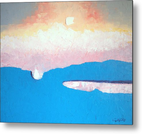 Maine Abstract Landscape Original Oil Paintings Art Metal Print featuring the painting Dreamscape VI by Laura Tasheiko
