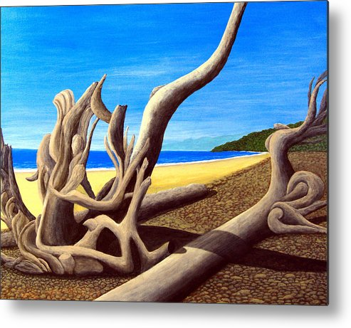 Landscape Artwork Metal Print featuring the painting Driftwood - Nature's Artwork by Frederic Kohli