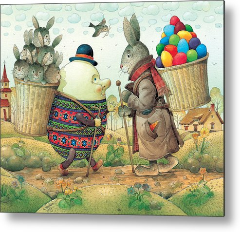 Easter Eggs Rabbit Spring Green Landscape Metal Print featuring the painting Eastereggs 03 by Kestutis Kasparavicius