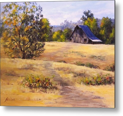 Landscape Metal Print featuring the painting Edge of Autumn by Karen Ilari