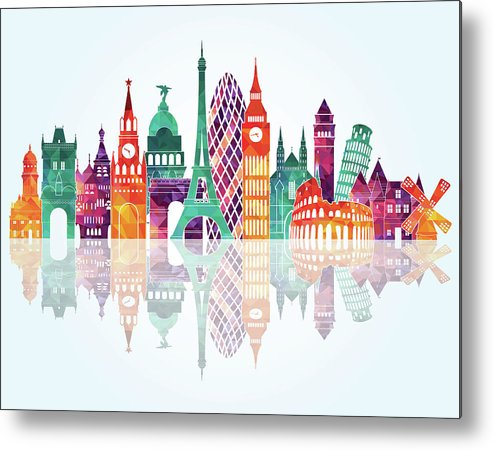People Metal Print featuring the digital art Europe Skyline Detailed Silhouette by Katerina andronchik
