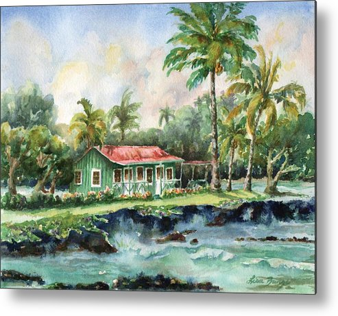 Eva Parker Woods Metal Print featuring the painting Eva Parker Woods Cottage by Lisa Bunge