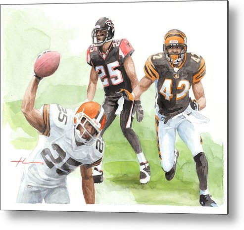 <a Href=http://miketheuer.com Target =_blank>www.miketheuer.com</a> Falcons Bengals Football Watercolor Portrait Metal Print featuring the drawing Falcons Bengals Football Watercolor Portrait by Mike Theuer