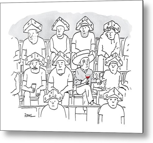 Captionless Metal Print featuring the drawing Fans At A Football Game Sit In The Stands Wearing by Julian Rowe