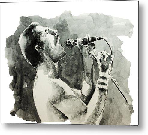 Freddie Mercury Metal Print featuring the painting Freddie Mercury 8 by Bekim M