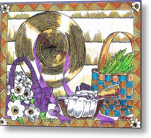 Gardener's Basket Metal Print featuring the drawing Gardener's Basket by Seth Weaver