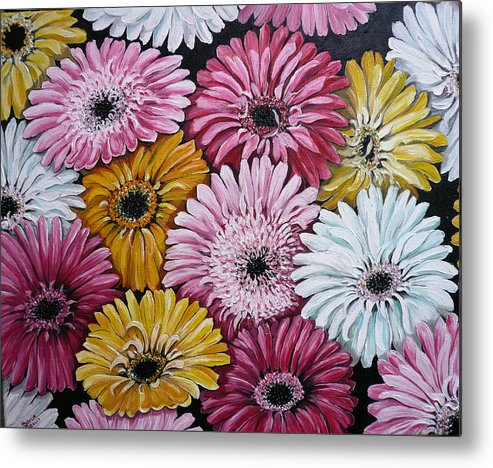 Flower Paintings Daisy Paintings Floral Paintings Blooms Color .gerbera Daisy Paintings Greeting Card Painting S Canvas Painting Poster Print Paintings Metal Print featuring the painting Gebera Daisies by Karin Dawn Kelshall- Best