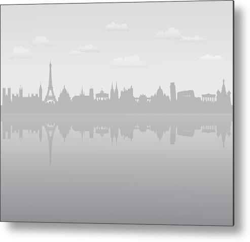 Clock Tower Metal Print featuring the digital art Grey Europe by Leontura