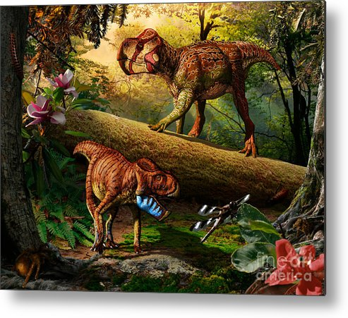 Gryphoceratops Metal Print featuring the digital art Gryphoceratops and Unescoceratops by Julius Csotonyi