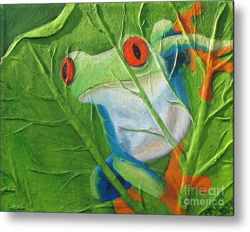 Red Eyed Tree Frog Metal Print featuring the painting Hide and Seek by Darlene Green