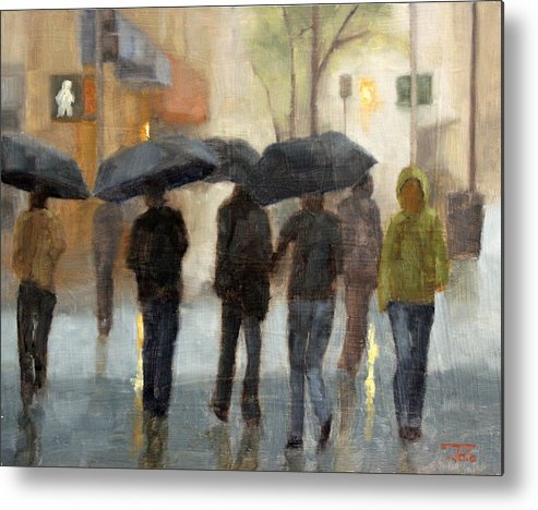Cityscape Metal Print featuring the painting In spite of rain by Tate Hamilton
