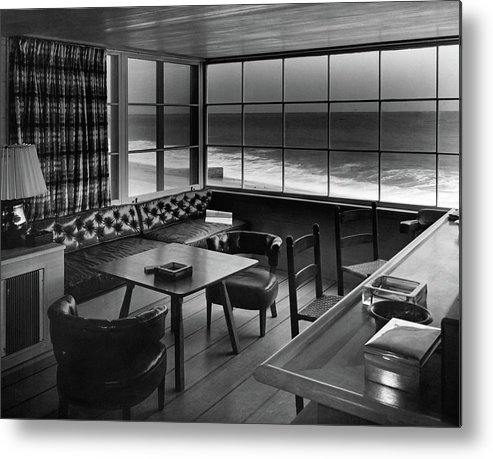 Interior Metal Print featuring the photograph Interior Of Beach House Owned By Anatole Litvak by Fred R. Dapprich