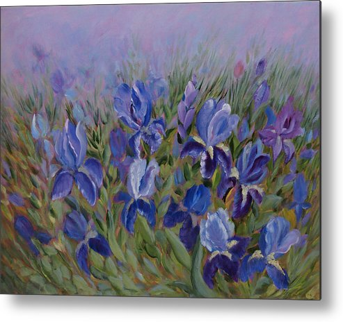 Spring Metal Print featuring the painting Irises by Joanne Smoley