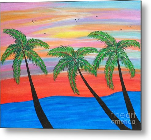 Abstract Metal Print featuring the painting Island Palms by JoNeL Art