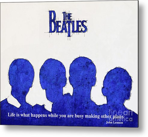 Lennon Metal Print featuring the painting John Lennon Quote - The Beatles by Drawspots Illustrations