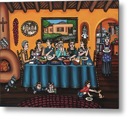 Hispanic Art Metal Print featuring the painting La Familia or The Family by Victoria De Almeida
