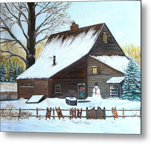 Landscape Metal Print featuring the painting Last of Winter by Kenneth LePoidevin