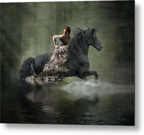 Girl Fleeing On Horse Metal Print featuring the photograph Liberated by Fran J Scott