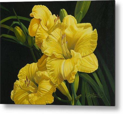 Floral Metal Print featuring the painting Lilies for Olivia Rose by Gary Hernandez