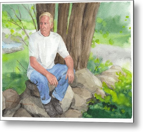 <a Href=http://miketheuer.com Target =_blank>www.miketheuer.com</a> Man On A Wall Watercolor Portrait Metal Print featuring the painting Man On A Wall Watercolor Portrait by Mike Theuer