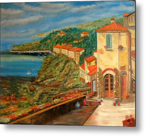 Coast Metal Print featuring the painting Mediterrean Coast by Kenneth LePoidevin