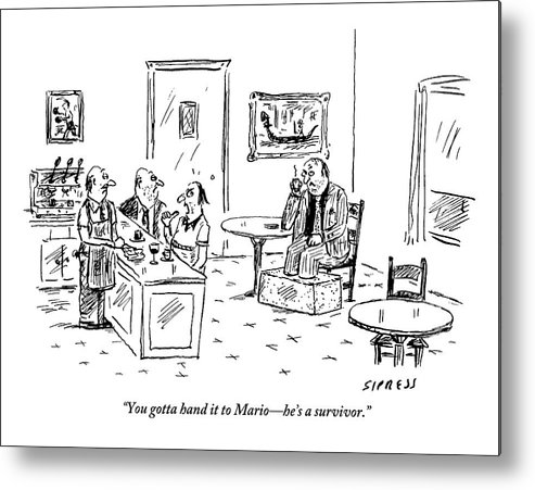 Mobster Metal Print featuring the drawing Men In A Restaurant Discuss A Patron Whose Feet by David Sipress