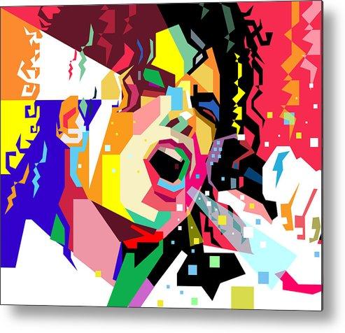 Singing Metal Print featuring the digital art Michael Jackson singing on WPAP by Ahmad Nusyirwan