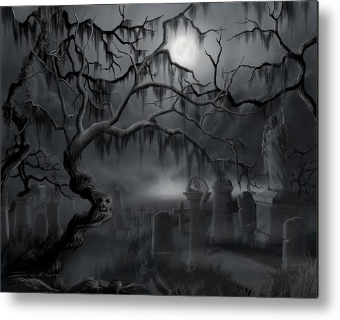 Landscape Metal Print featuring the painting Midnight in the Graveyard by James Christopher Hill