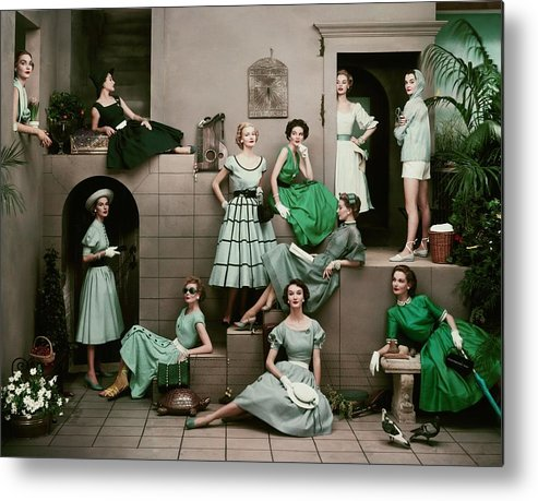 Accessories Metal Print featuring the photograph Models In Various Green Dresses by Frances Mclaughlin-Gill