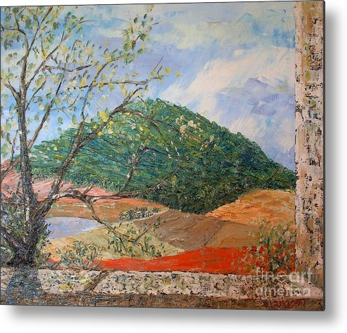 Green Hill Metal Print featuring the painting Mole Hill Greets the Morning - SOLD by Judith Espinoza