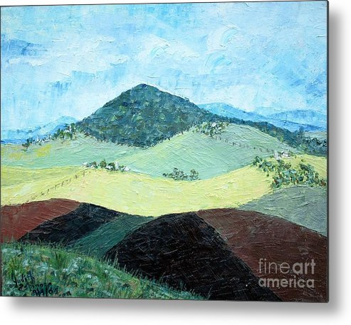 Centered Mole Hill With Dark Foreground; Plowed Fields Metal Print featuring the painting Mole Hill - SOLD by Judith Espinoza