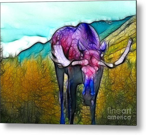 Moose Metal Print featuring the mixed media Moose in Pure Light by Francine Dufour Jones