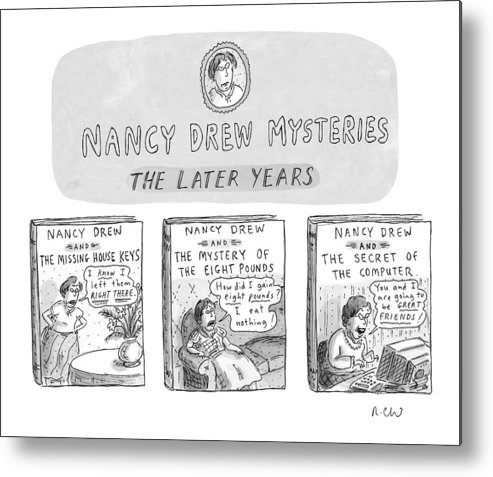 Old Age Metal Print featuring the drawing New Yorker June 22nd, 1998 by Roz Chast