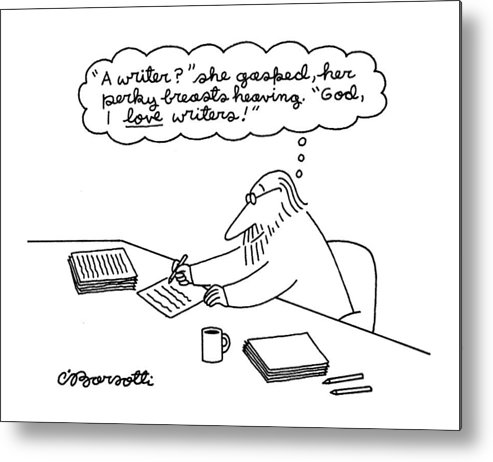 (a Man Thinking Metal Print featuring the drawing New Yorker June 27th, 1994 by Charles Barsotti