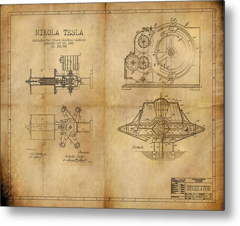 Steampunk Metal Print featuring the painting Nikola Telsa's work by James Christopher Hill