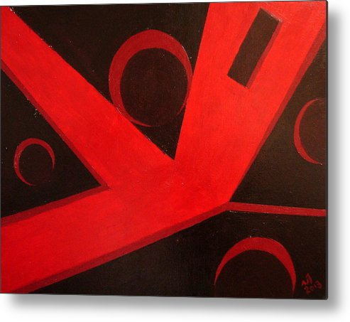 Abstract Metal Print featuring the painting No. 408 by Vijayan Kannampilly