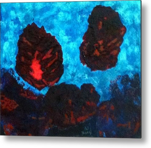 Organic Forms Metal Print featuring the painting No.411 by Vijayan Kannampilly
