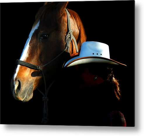 A Woman Wrangler And Her Horse Pose Together While On The White Horse Ranch In Southeastern Oregon. Metal Print featuring the photograph Oregon by Lourie Zipf