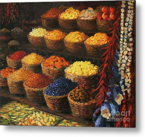 Fruits Metal Print featuring the painting Palette of The Orient by Kiril Stanchev