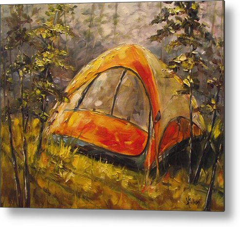 Camping Metal Print featuring the painting Paradise In The Woods by Angela Sullivan