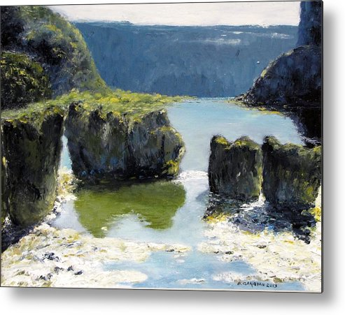 Landscape Metal Print featuring the painting Pillar Falls by Boris Garibyan