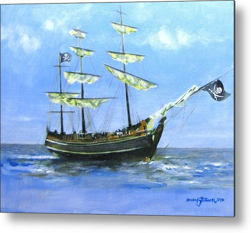 Pirate;pirate Ship;blackbeard Pirate;ship;sea;sail Ship; Metal Print featuring the painting Pirate by Howard Stroman