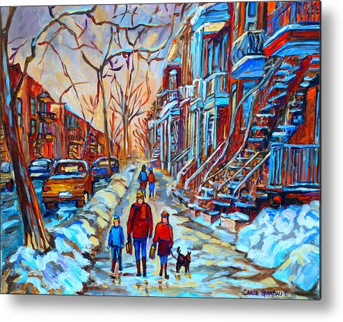 Plateau Montreal Metal Print featuring the painting Plateau Montreal Street Scene by Carole Spandau