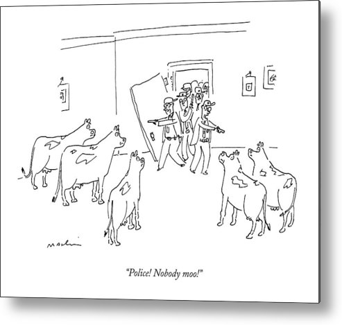 Cows Metal Print featuring the drawing Police Burst In With Guns To A Room Filled by Michael Maslin