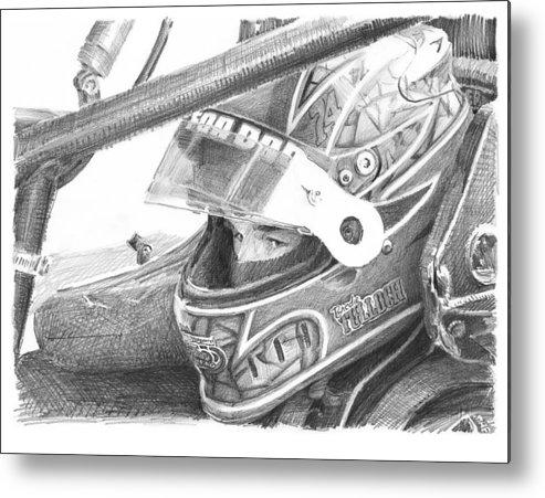 Www.miketheuer.com Racecar Driver Pencil Portrait Metal Print featuring the drawing Racecar Driver Pencil Portrait by Mike Theuer