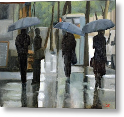 Cityscapes Metal Print featuring the painting Rain on Saint Germain by Tate Hamilton